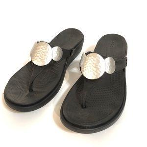 Croc Sanrah Black Silver Wedge Sandal Flip Flop 8
